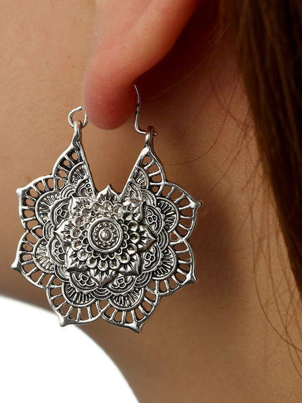 Bohemian Vintage Hollow Alloy Flower Earrings Accessories - Voguetide