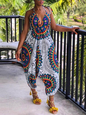 Tribal Totem Print Halter Neck Casual Jumpsuit