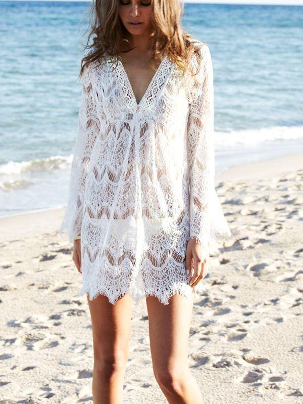 White Lace Beach Loose Hollow Pullover Cover-up