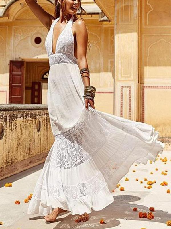 Boho Sexy Deep V-neck Backless Lace Split-joint Maxi Dress