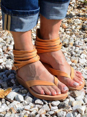 Solid Color Beach Casual Summer Flat Sandals