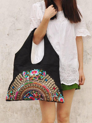 Ethnic Style Simple Embroidery Zipper Shoulder Bag