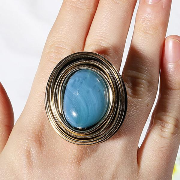 Unique Spiral Large Gemstone Charm Party Finger Closed Ring