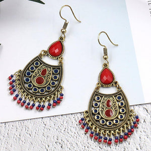 Bohemian Ethnic Acrylic Beads Tassel Dangling Earrings Jewelry