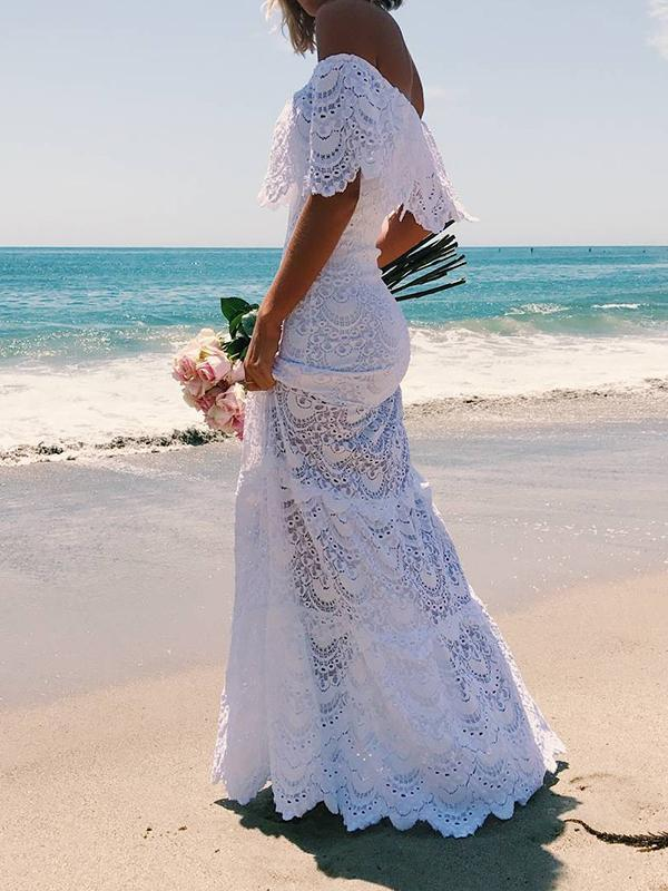 Sexy Lace Off Shoulder Slim Fit Beach Maxi Dress