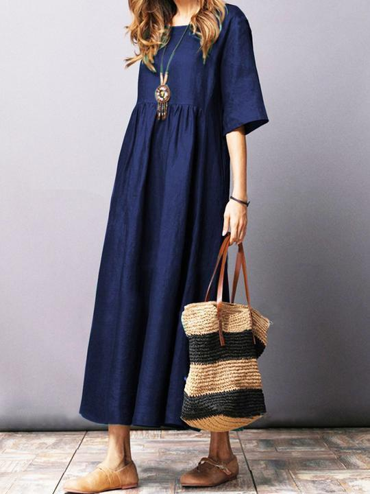 Solid Color Short Sleeve Loose Casual Maxi Dress