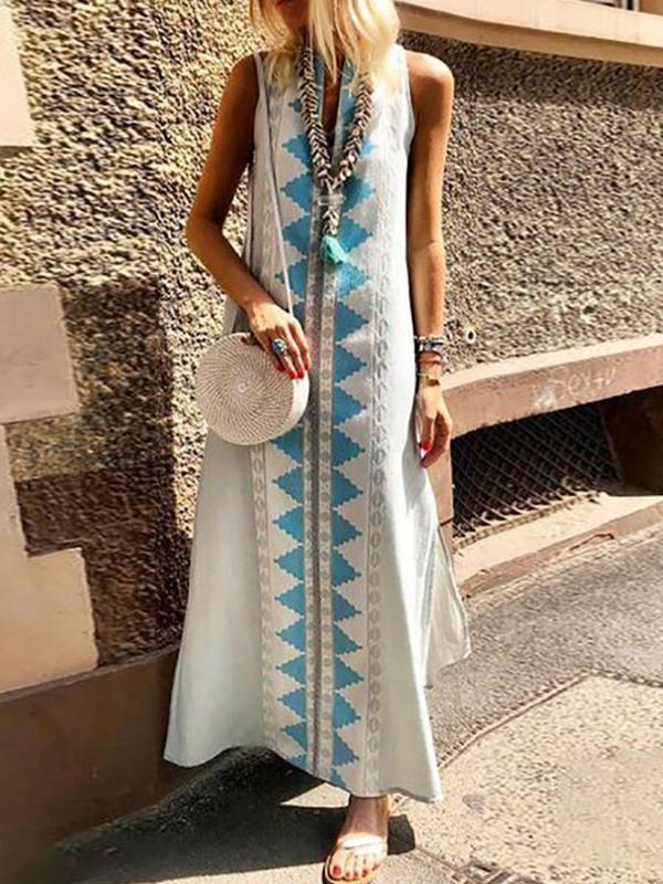 Casual Sexy Sleeveless Printing Summer Beach Maxi Dresses
