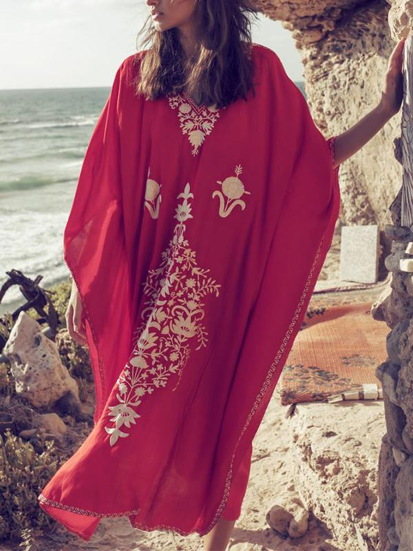 Summer Printed Beach Red Kaftan Cover-up