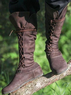 Western Lace Up Knee High Boots