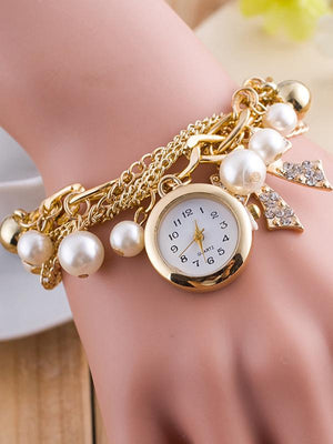 Luxury Chic Pearls Bracelet Wrist Watch