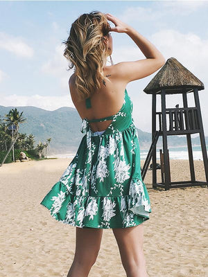 Sweet Bohemian Lace-up Backless Floral Green Mini Dress