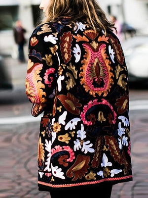 Vintage Long Sleeve Folk Style Floral Print Jacket Outwear