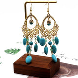 Exaggerated Boho gemstones tassels handmade earrings series