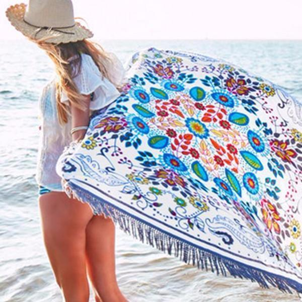 Attractive Bohemia Floral Round Shawl Beach Towel Mat - Voguetide