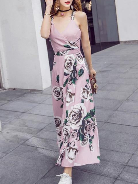 V-neckline Pink Floral Bohemia Maxi Beach Dress