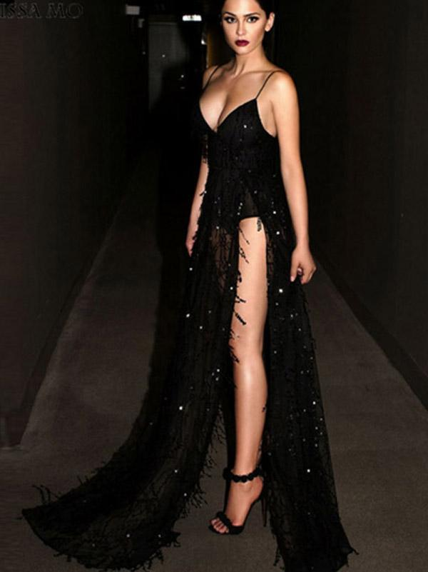 V-neck Spaghetti-neck Evening Dress