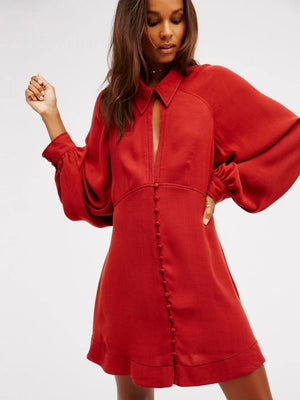 Vintage Lapel Collar Puff Sleeves Mini Dress