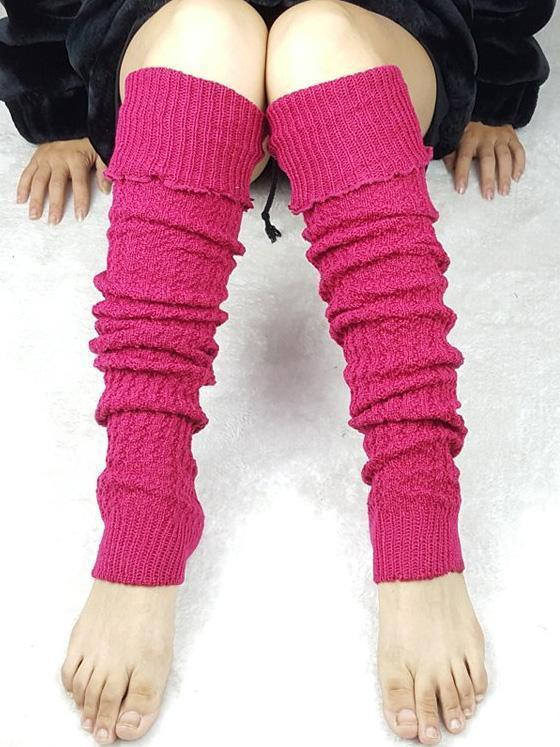 Warm Solid Color Over Knee-high Stocking