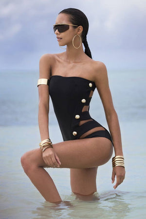 Siamese Hollowed Multi-Button Sexy Bikini Swimsuit