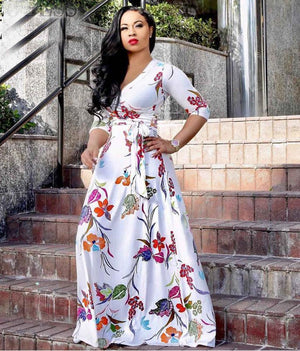 Sexy V Neck Floral Printed Big Swing Maxi Dress