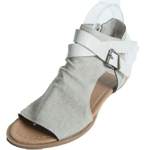 Casual Buckle Slingbacks Canvas Peep Toe Flat Canvas Sandals