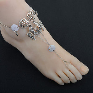 Vintage exaggerated ethnic style hollow drip carved metal beach anklets dripping footstool