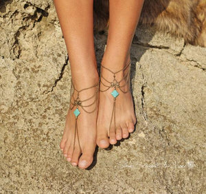 Vintage Gothic square turquoise tassel chain multi-layer anklet