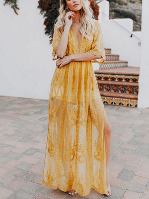 Sexy Bohemian Lace Embroidered V-neck Open Perspective Maxi Dress