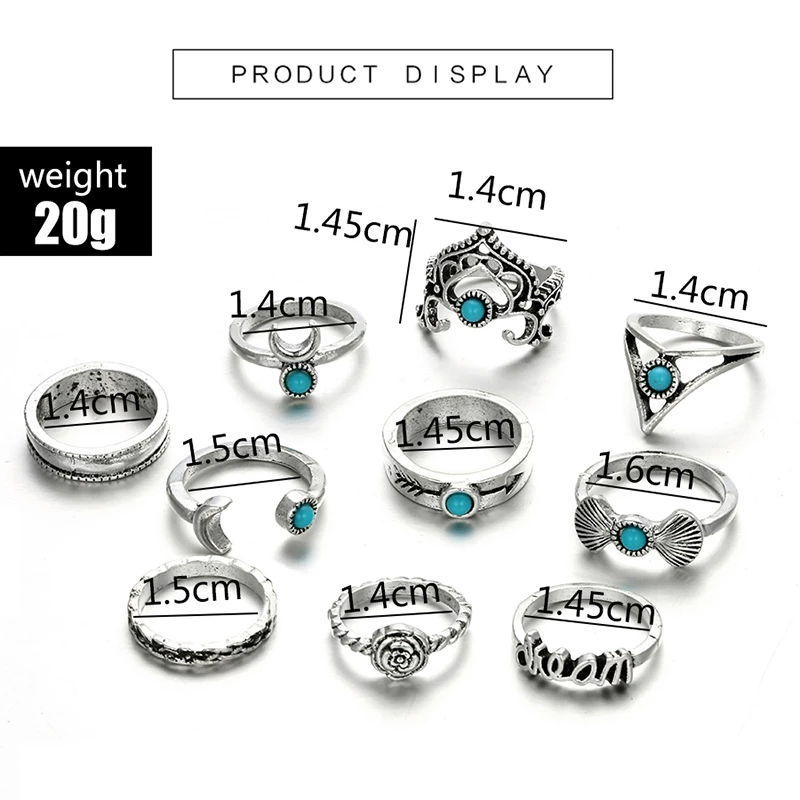 Vintage 10pcs/Set Flower Moon Crown Letter Finger Knuckle Rings