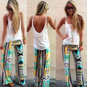 Hippie Printed High Waist Trousers Pants