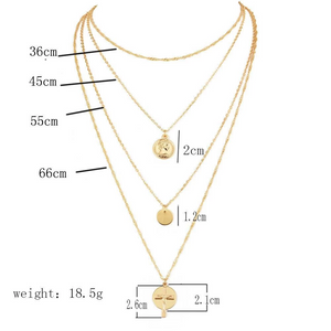 Fashion Bohemian Multi-layer Disc Cross Pendant Necklace Jewelry