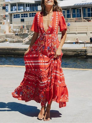 Holiday Bohemian V Neck Printed Short Sleeve Chiffon High-Waist Maxi Dress