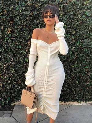 Sexy Long Sleeve Off Shoulder Drawstring Wrap Mini Dresses
