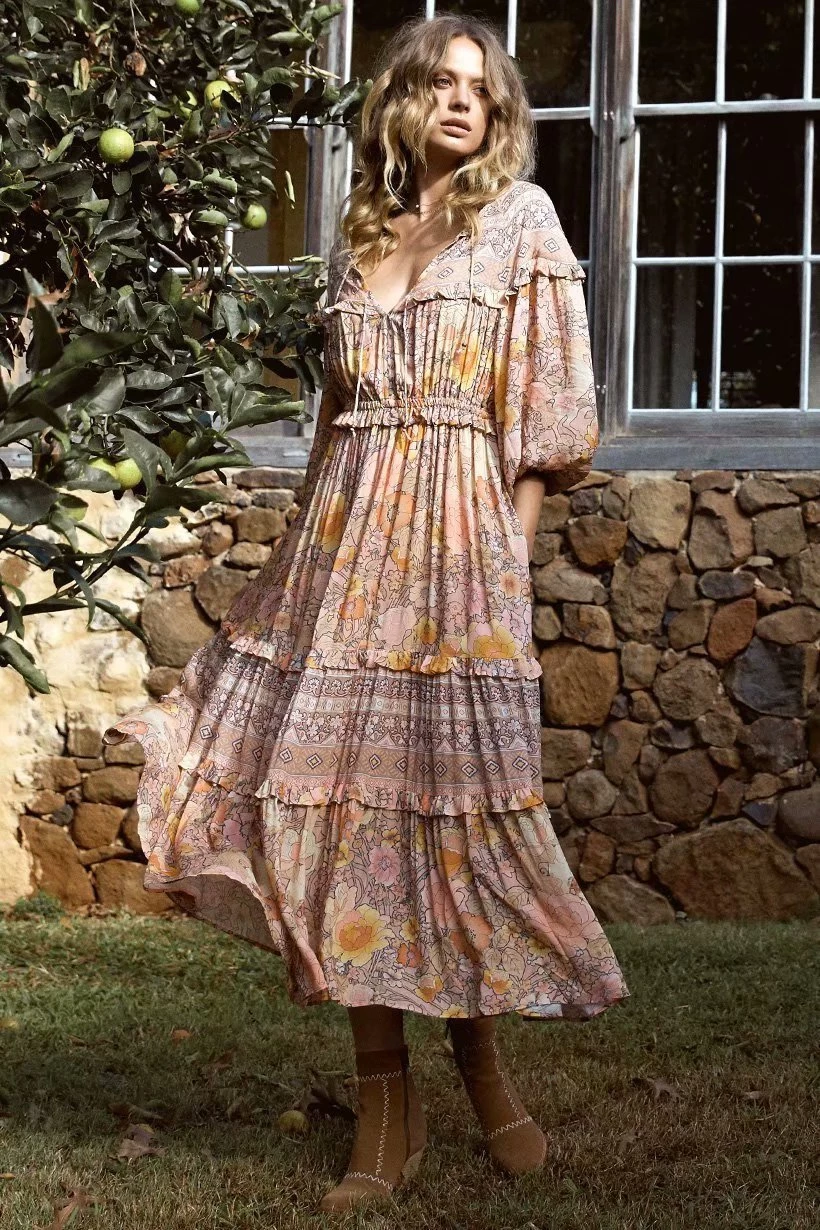 Bohemian Lace-up Round Neck Long Sleeves Maxi Dress