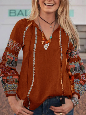 Boho Long Sleeve V Neck Casual Floral Shirts Tops
