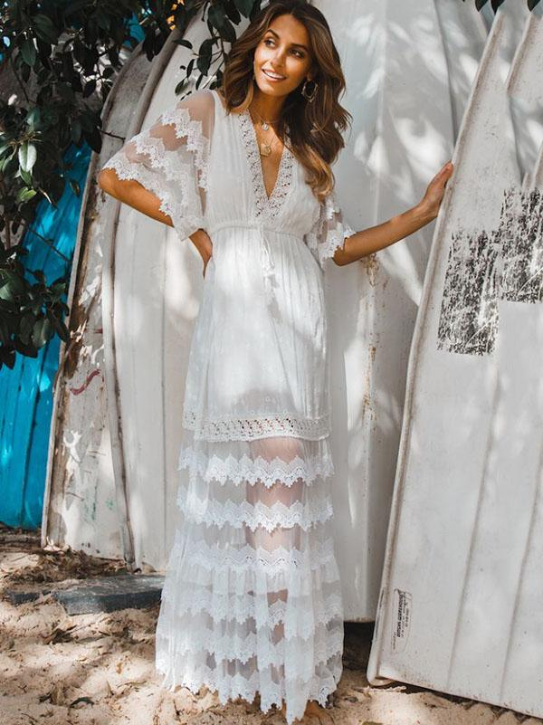 Stylish White Lace Hollow Split-joint V-neck Maxi Dress