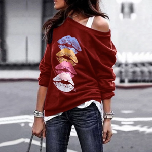 Casual Autumn Sexy Print Long Sleeve Plus Size Tops