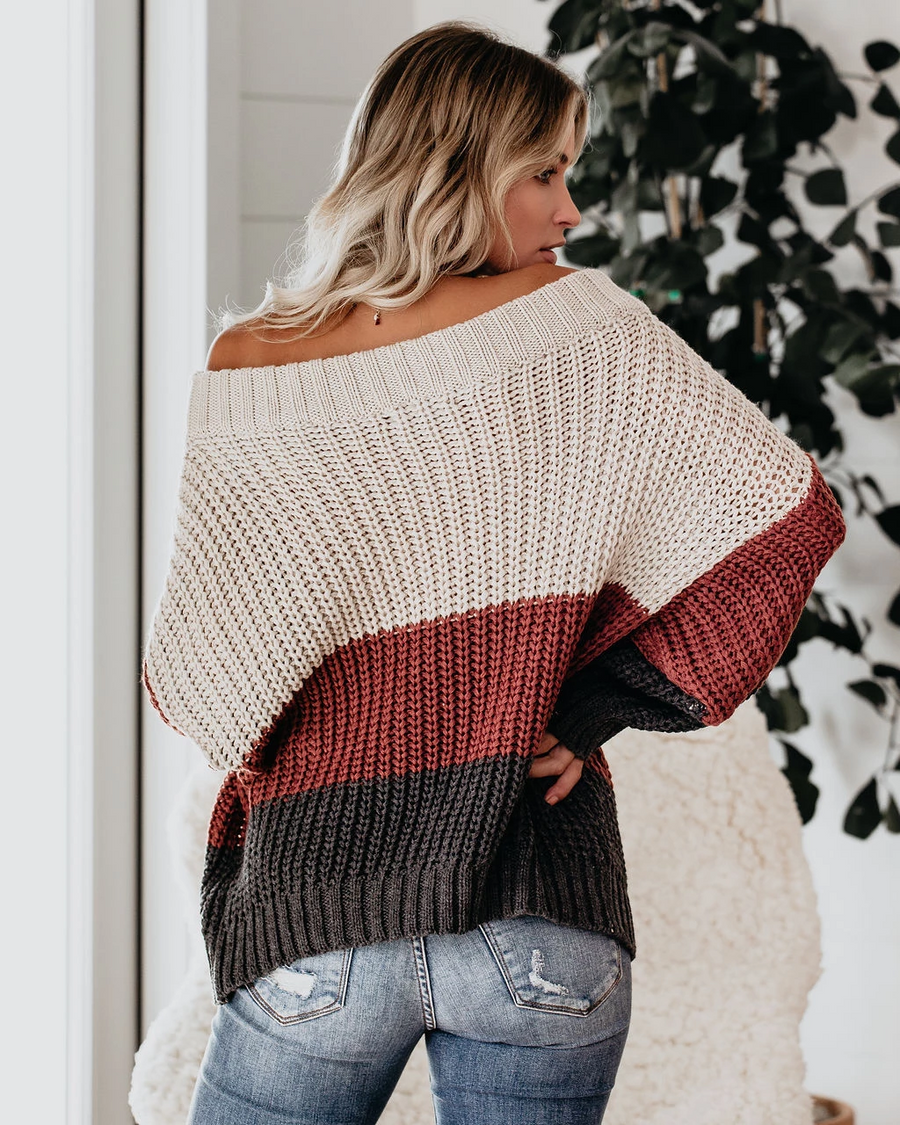 Off The Shoulder Colorblock Stitching Loose Winter Sweater