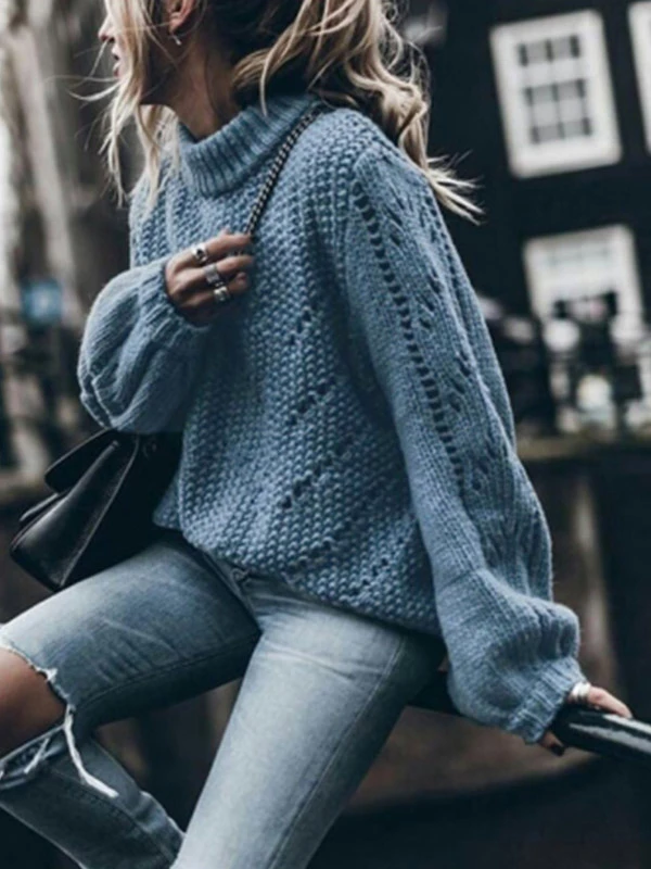 Casual Fashion Plain Ribbed Knit Roll Neck Bloomer Sleeve Shredded Boxy Sweater