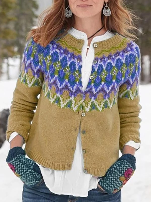 Casual Plus Size Long Sleeve Printed Winter Sweaters