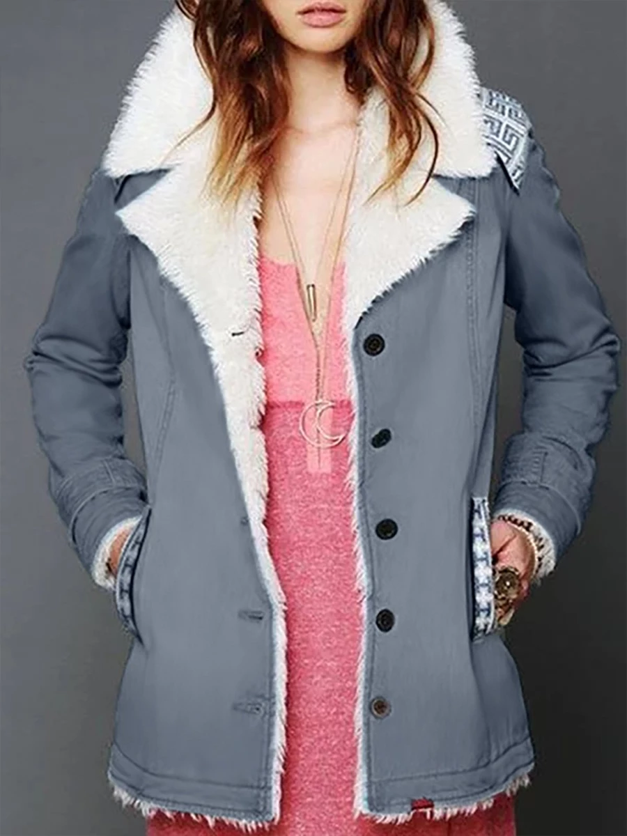 Casual Plain Buttoned Long Sleeve Plus Size Warm Coat Outwear
