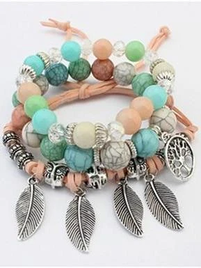 Fashion Vintage Ethnic Elasticity Marble Beads Boho Statement Leaves Bangle Bracelet