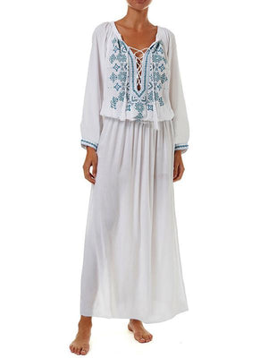 Loose Embroidery Long Sleeve Beach Cover-ups