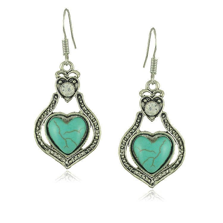 Boho Gypsy Retro Turquoise Heart-shaped Pendant Earrings