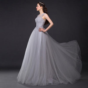 Three Colors Long Lace Evening Dress  Huge Hem Banquet