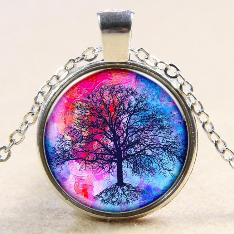 Color Life Tree Time Gemstone Pendant Necklace