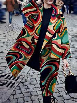 Fashion Turndown Collar Printed Colour Plus Size Long Sleeve Coat Outerwear