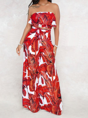 SEXY PRINTING STRAPLESS FLOUNCE TOP WIDE-LEG TROUSERS SUIT