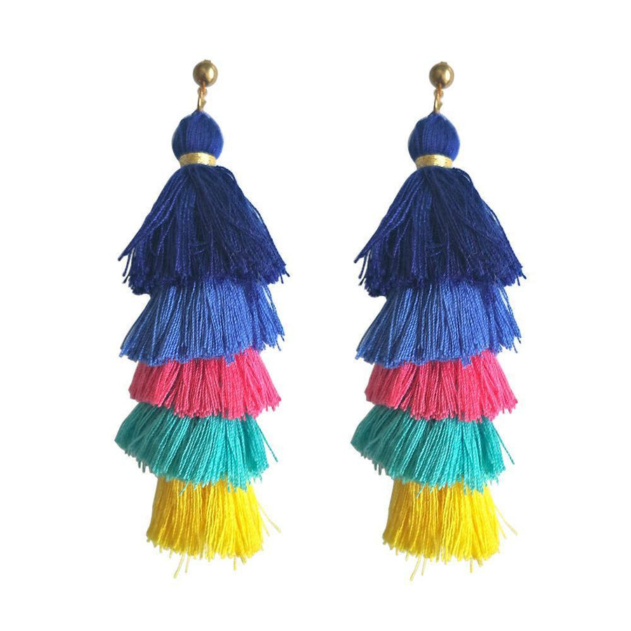 Handmade long tassel colorful bohemia style statement fashion party - Voguetide
