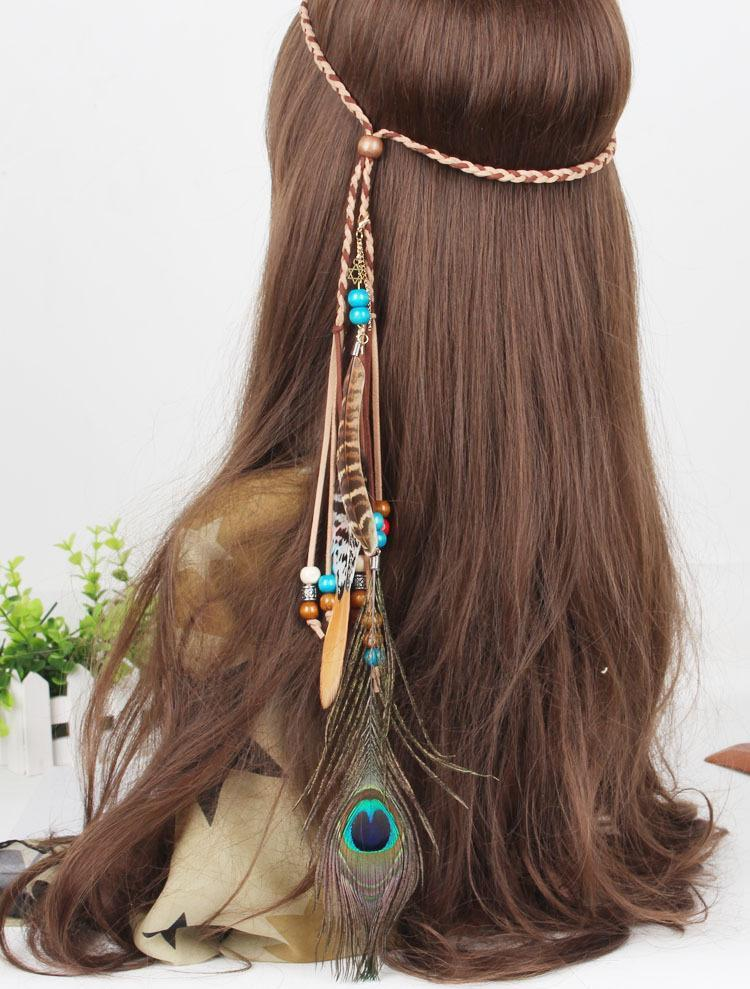 Bohemian Gypsy Handmade Peacock Feathers Beads Headwear Accessories - Voguetide